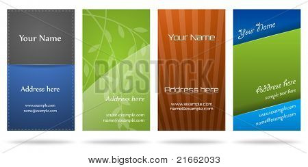 Set of four vertical business cards