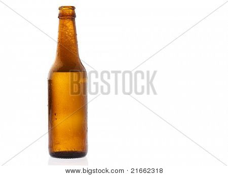 recently opened beer bottle on white background