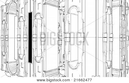 Abstract Eclectic Building Construction Vector
