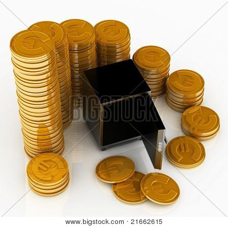 open safe with gold chinks on a white background