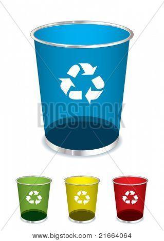 明亮的玻璃回收垃圾桶图标或符号