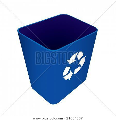 Blue plastic recycle waste can or bin