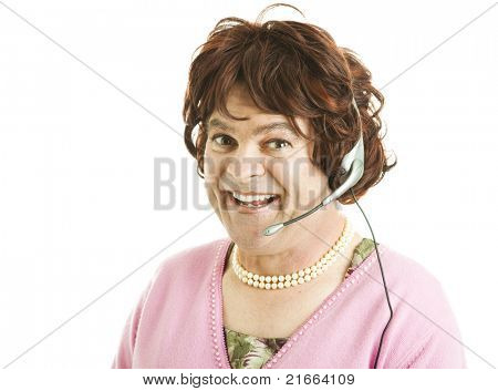 Humorous photo of a customer service worker who is really a man pretending to be a woman.  Isolated on white.