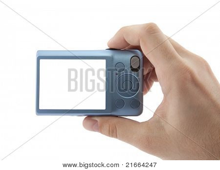 Hand holding digital camera. Clipping path included