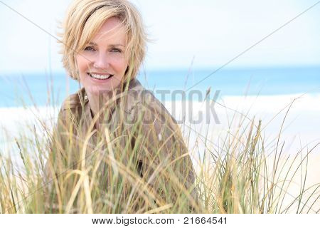 Woman in the sand dunes