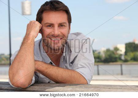 Man posing on the quay