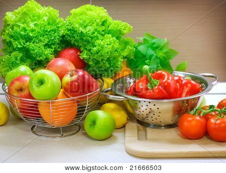 Fresh Raw Vegetables on the kitchen table.Diet