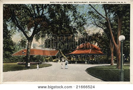 BROOKLYN, NEW YORK - CIRCA 1915: Vintage postcard depicting Shelter House & Restaurant of Prospect Park on 585 acres of public grounds in Brooklyn, New York, USA, circa 1915.