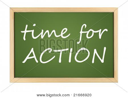 An illustration of a chalk board with time for action