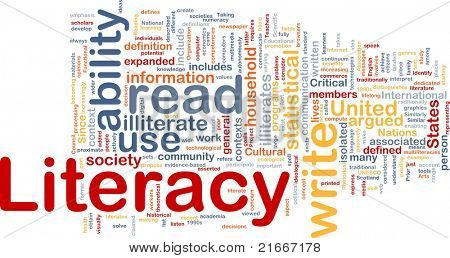 Background concept wordcloud illustration of literacy