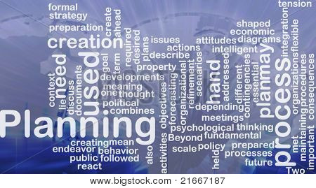 Word cloud concept illustration of planning process international