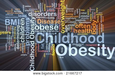 Background concept wordcloud illustration of childhood obesity glowing light