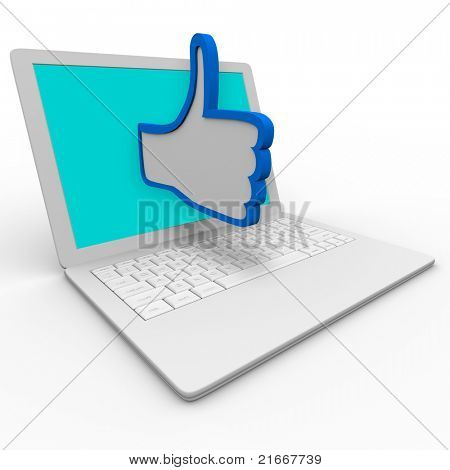 A blue and white thumbs up symbol emerges from a laptop computer screen to illustrate approval or  a positive review for a person or thing on an internet website or social network site