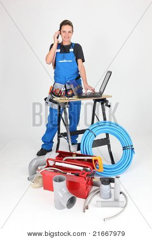 woman plumber on the phone