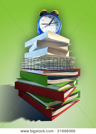 Huge pile of paperwork with and alarm clock on its top. Digital illustration.