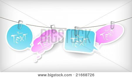 Set of blue and pink stickers.