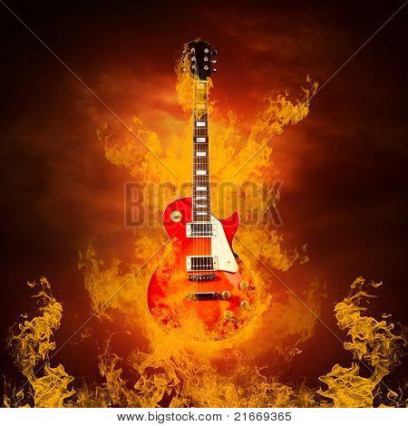 Rock guitar en llamas de fuego