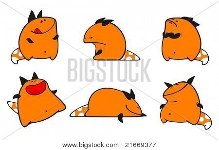 Set of images of a small orange monster (raster version)