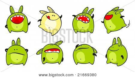 Set of images of a small green monster (raster version)