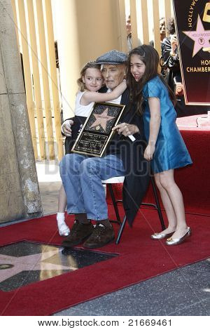 LOS ANGELES - MAR 26: Dennis Hopper and his granddaughters at a ceremony where Dennis Hopper receives a star on the Hollywood Walk of Fame in Los Angeles, California on March 26, 2010