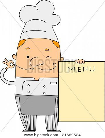 Illustration of a Chef Holding a Menu