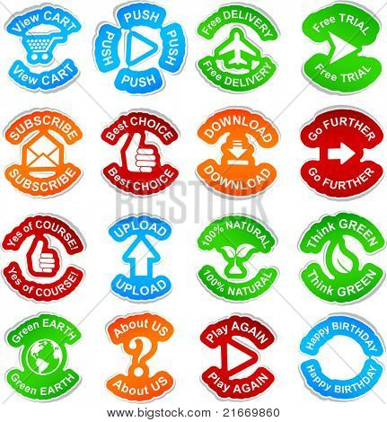 Color set of 16 vector stickers.