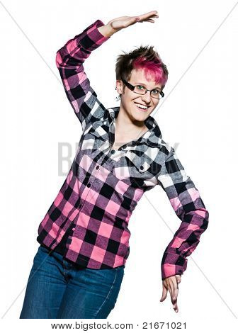 Portrait of a smiling young expressive woman dancing in studio on white isolated background