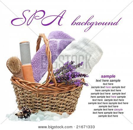 spa background with lavender  on a white background
