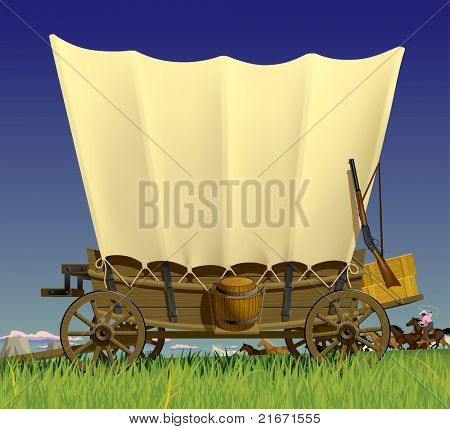 Raster version of vector illustration with a Wild West covered wagon in prairie against the background of a flock of horses