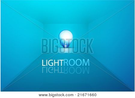 Empty light room with blue light bulb. Vector eps10 background
