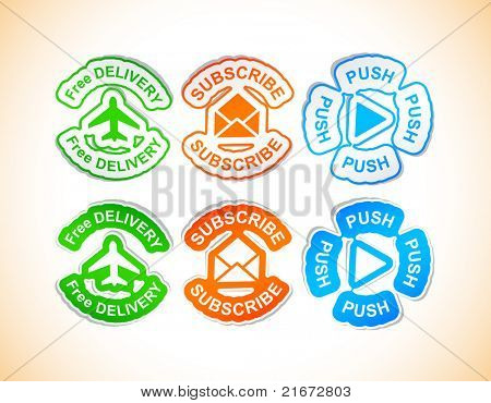 Vector illustration of Eco friendly sticky labels.