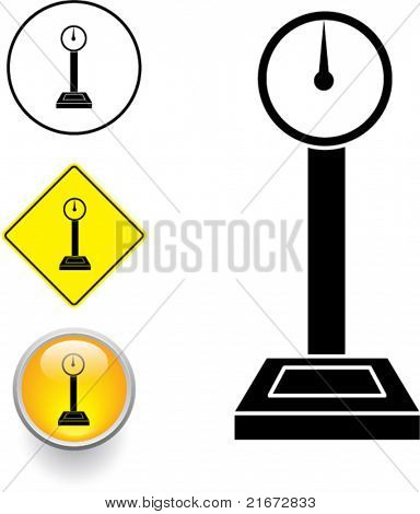 industrial weight scale symbol sign and button