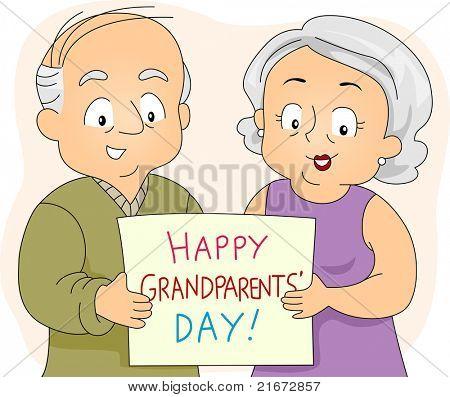 Illustratie van een bejaarde echtpaar houden een Poster