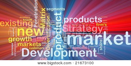 Background concept wordcloud illustration of new market development glowing light