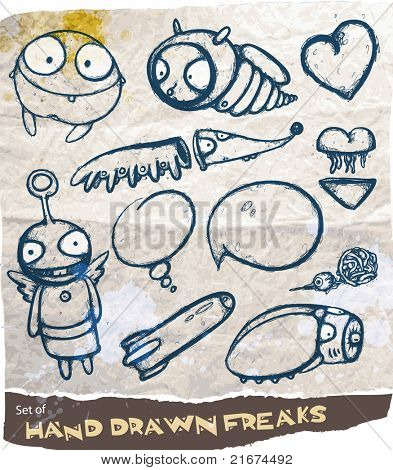 Set of hand drawn freaks with speech bubbles