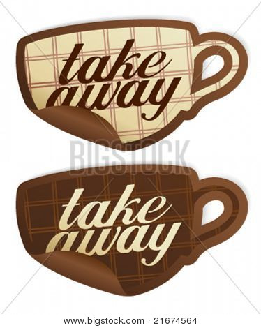 Take away stickers in form of coffee cup.