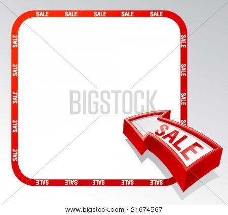 Bandera de flecha de venta con lugar para el texto.
