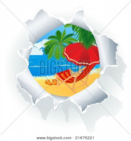 Paradise beach through paper hole. Vector abstract.