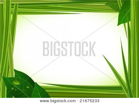 Fresh green grass vector frame with clear water drops.