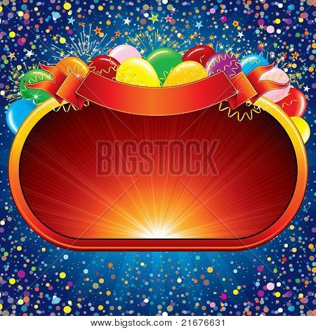 Bright Vector Background with Colorful Balloons and a Sign for your Congratulations Design.