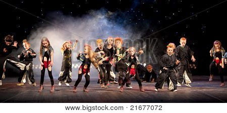 "VITEBSK, BELARUS - JULY 1: Unidentified children from dancing group ""Belka"" at a concert ""Dancing group ""Belka"" collects friends"" on july 1, 2011 in Vitebsk, Belarus"
