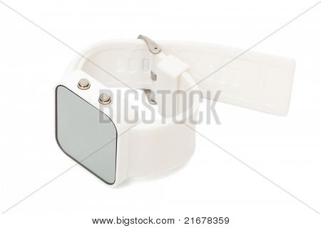 Modern digital watch a white background