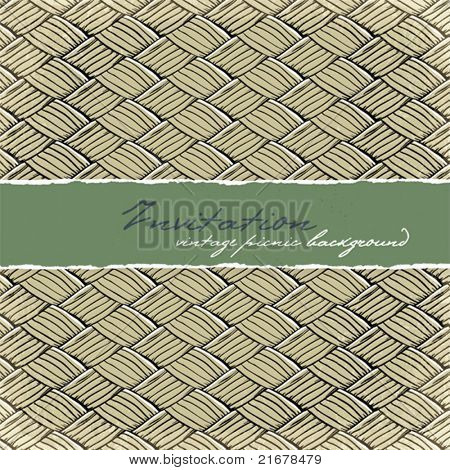 Invitation card with space for text. Vintage picnic background.