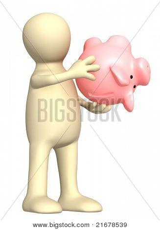 Imagen conceptual - crisis financiera. Marionetas con vacío alcancía