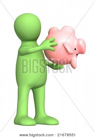 Conceptual image - financial crisis. Puppet with empty piggy bank