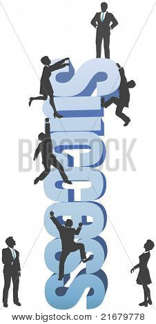 Company of people climb up business SUCCESS ambition word to the goal on top