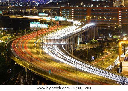 freeway traffic at night