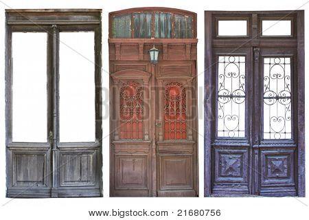 Set of aged doors isolated on white background