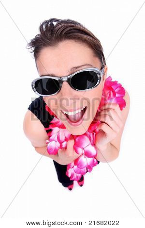 A picture of a happy woman in a hawaiian necklaces ready for holidays over white background