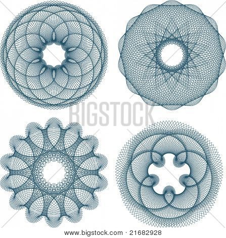 Set of four guilloche rosette